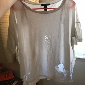 Forever 21 Distressed White Tee